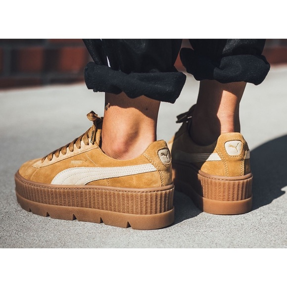 ... Rihanna Tan Suede Cleated Creepers. M 5a7650802ab8c53820f2fc96 58bae0fdb